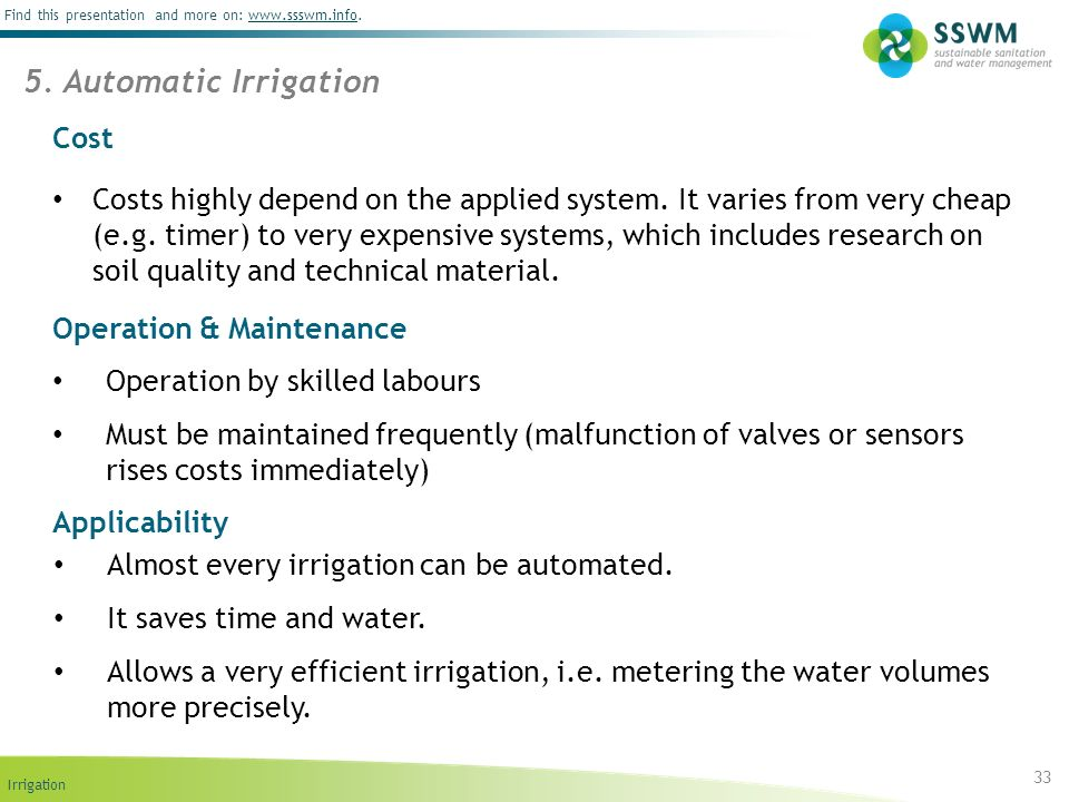 5. Automatic Irrigation Cost