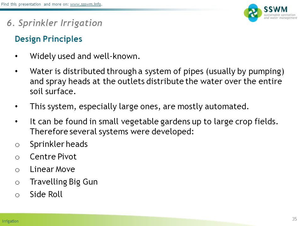 6. Sprinkler Irrigation Design Principles Widely used and well-known.