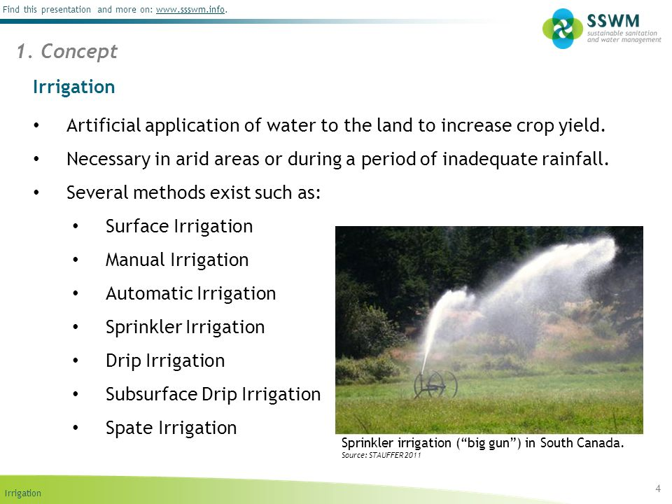 1. Concept Irrigation. Artificial application of water to the land to increase crop yield.