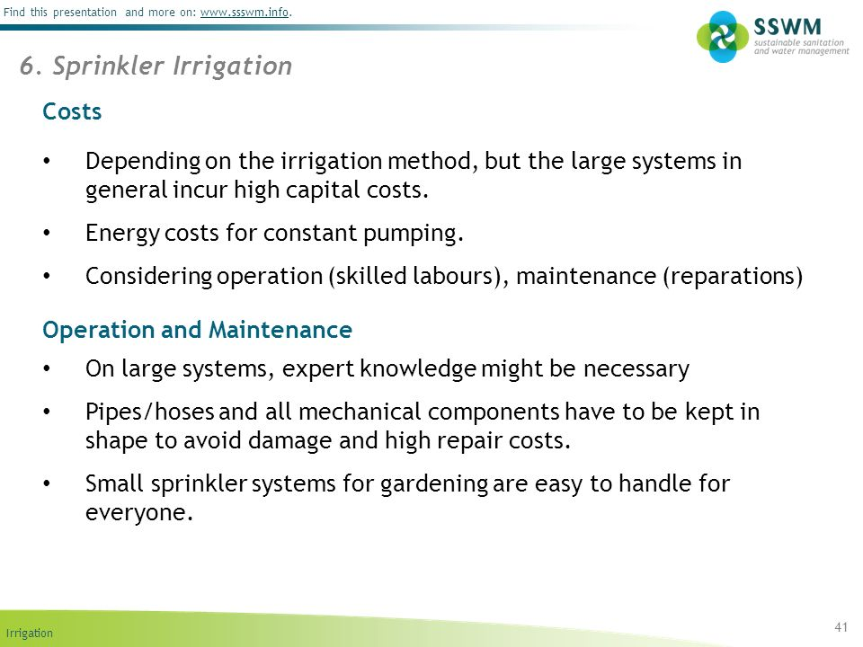 6. Sprinkler Irrigation Costs