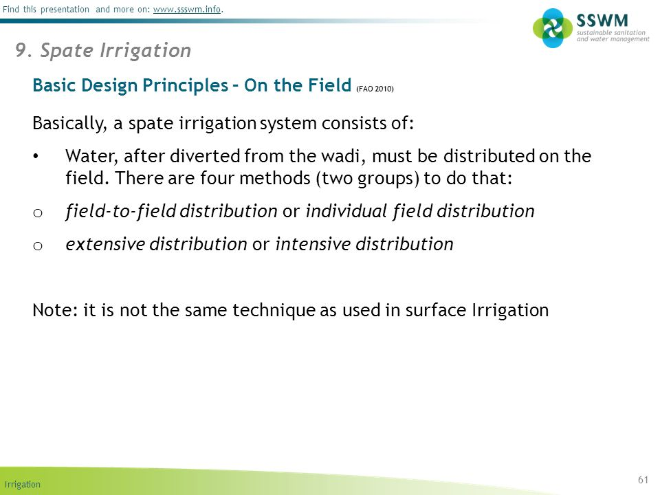 Basic Design Principles – On the Field (FAO 2010)