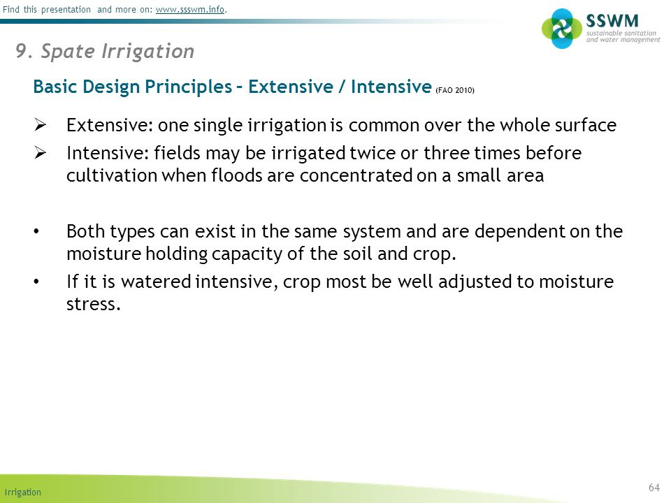 Basic Design Principles – Extensive / Intensive (FAO 2010)