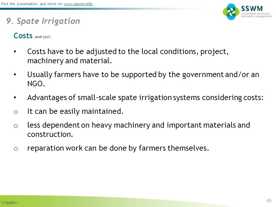 9. Spate Irrigation Costs (NWP 2007)