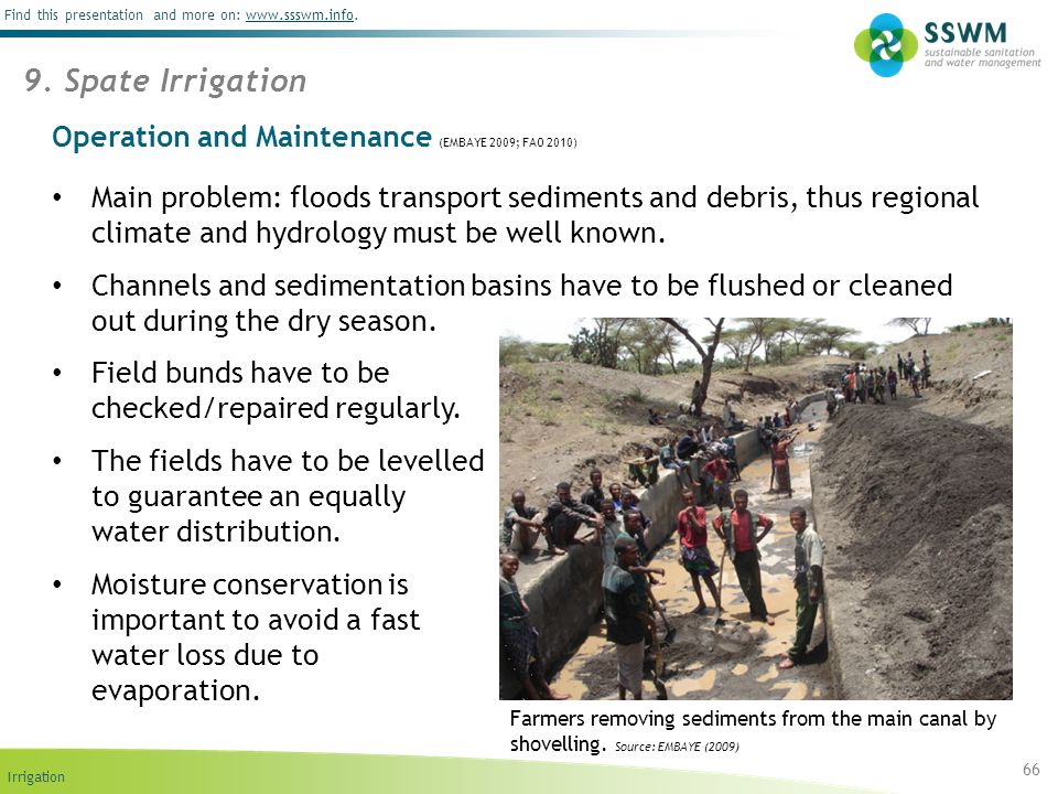 Operation and Maintenance (EMBAYE 2009; FAO 2010)