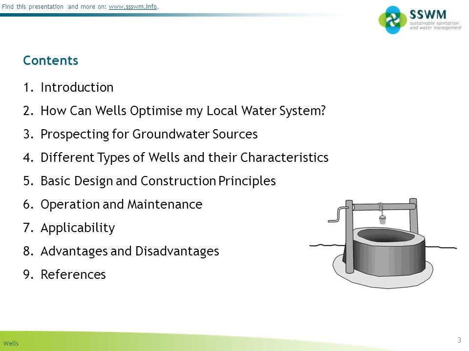 Contents Introduction. How Can Wells Optimise my Local Water System Prospecting for Groundwater Sources.