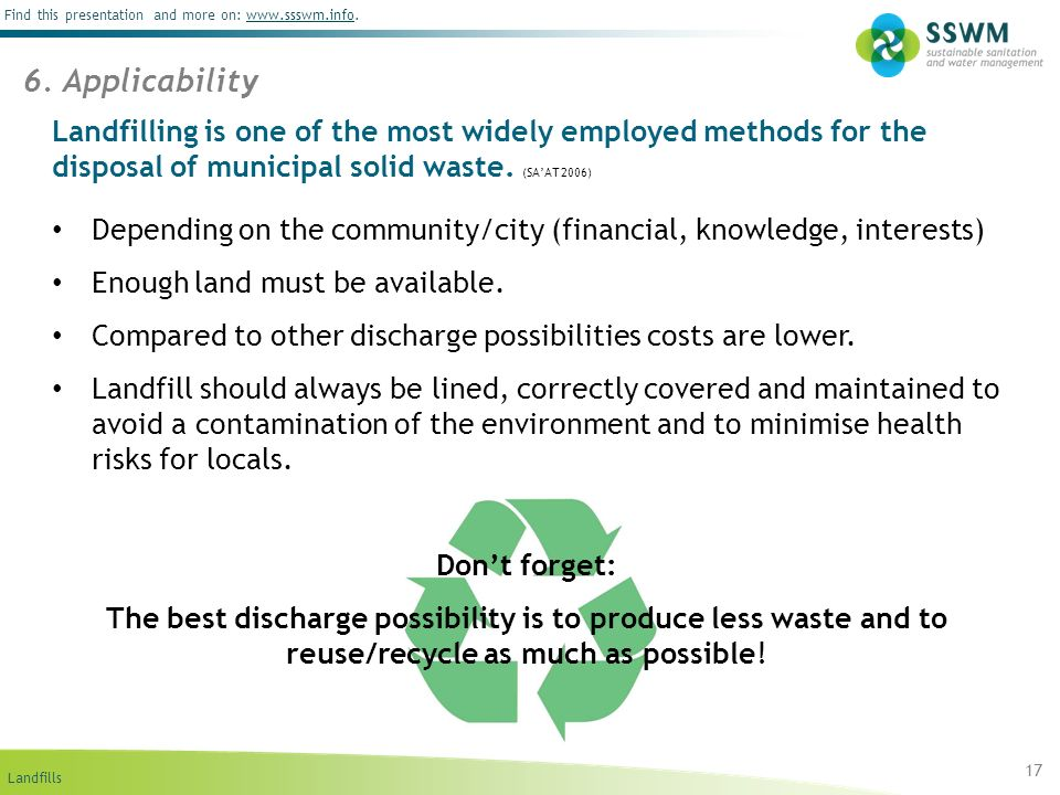 6. Applicability Landfilling is one of the most widely employed methods for the disposal of municipal solid waste. (SA'AT 2006)