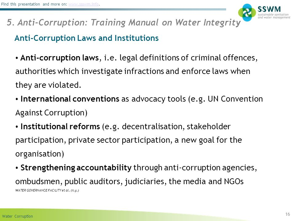 Anti-Corruption Laws and Institutions