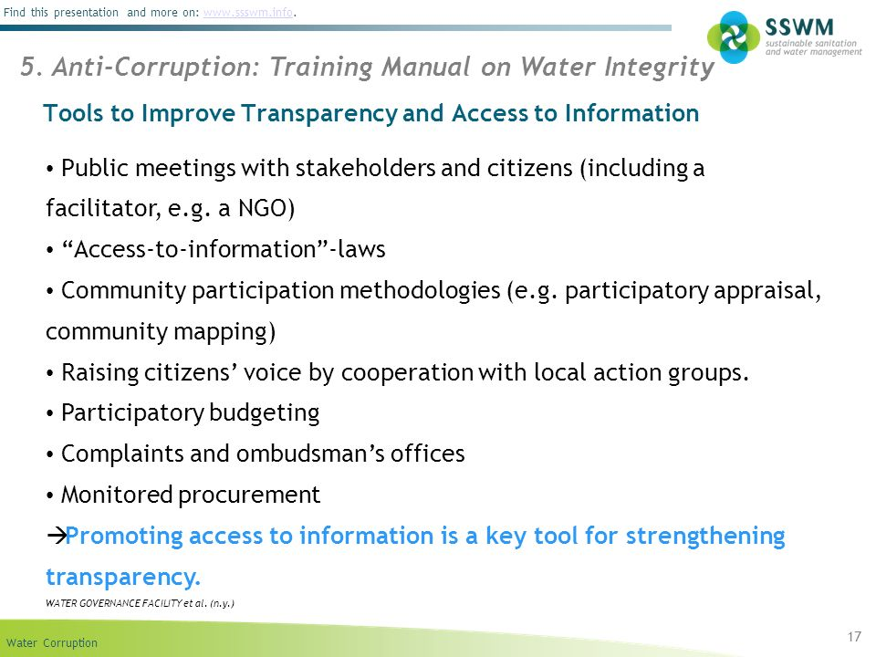 Tools to Improve Transparency and Access to Information