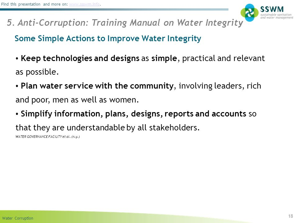 Some Simple Actions to Improve Water Integrity