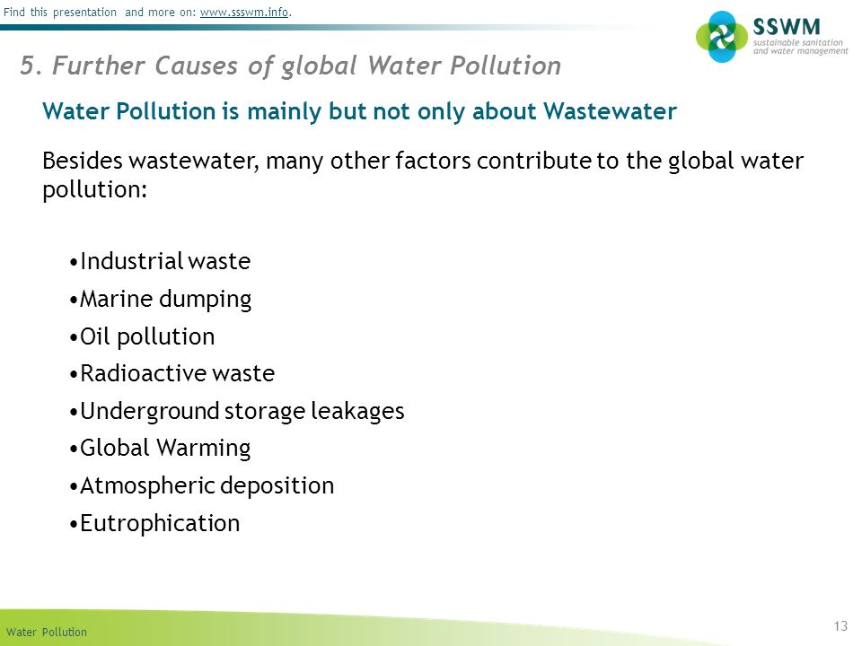 Water Pollution is mainly but not only about Wastewater