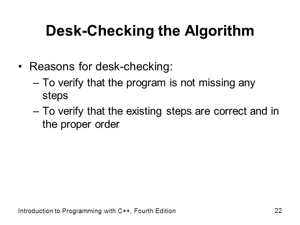 22 Desk Checking The Algorithm Chapter 2 Beginning Problem Solving Process Ppt Video What Is An Infinite