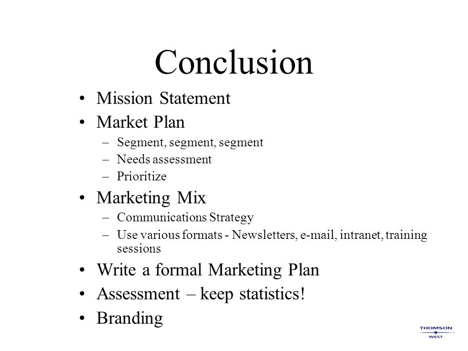conclusion for marketing A discussion of the top twenty keys to online marketing to use as a guide when establishing marketing campaigns for your business.