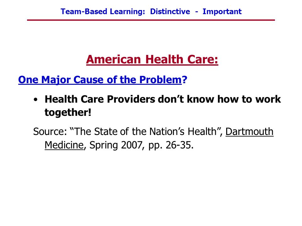American Health Care: One Major Cause of the Problem