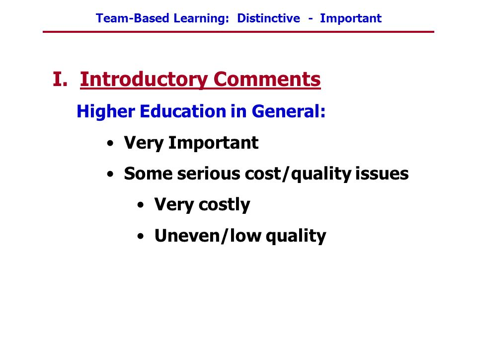 I. Introductory Comments