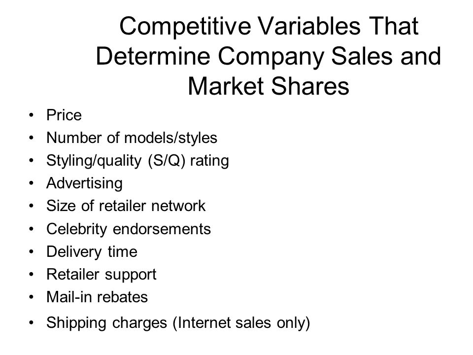 Competitive Variables That Determine Company Sales and Market Shares