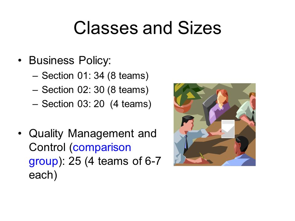 Classes and Sizes Business Policy: