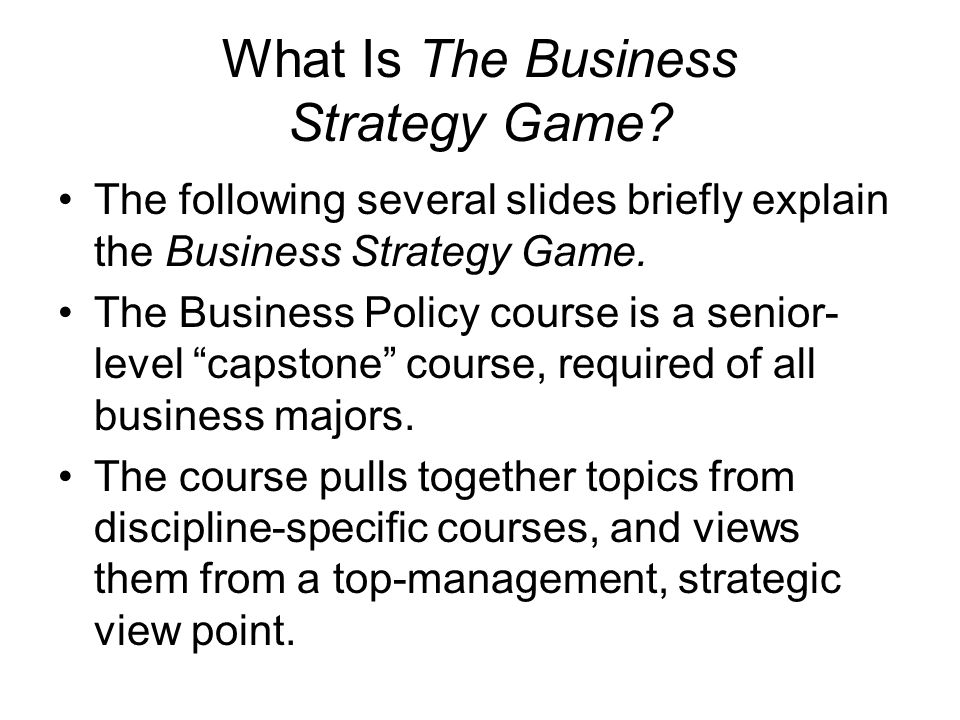 What Is The Business Strategy Game