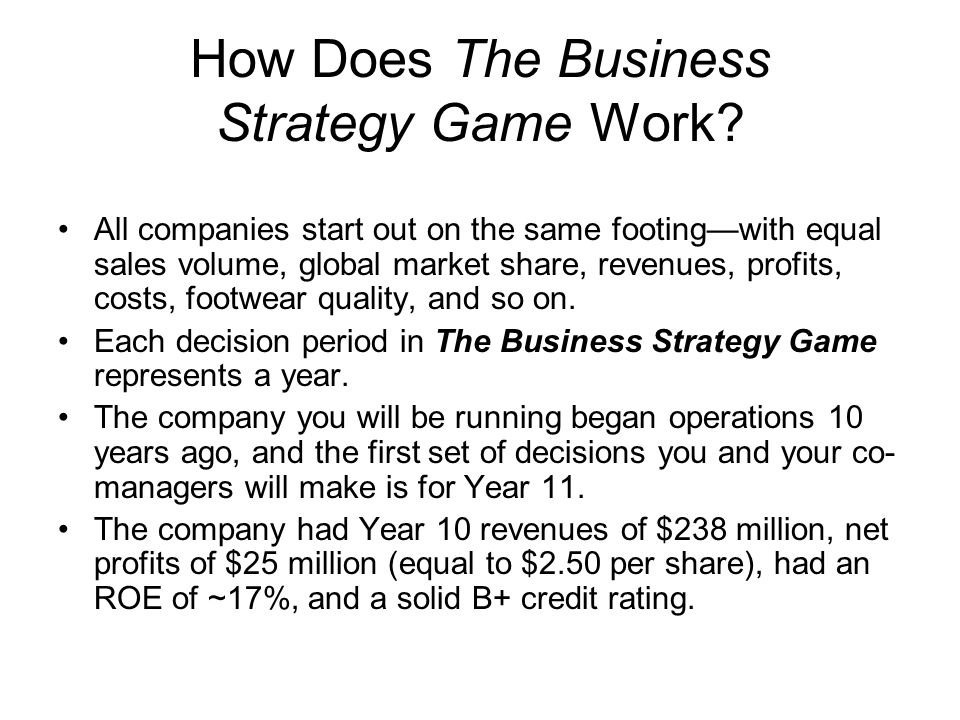 How Does The Business Strategy Game Work