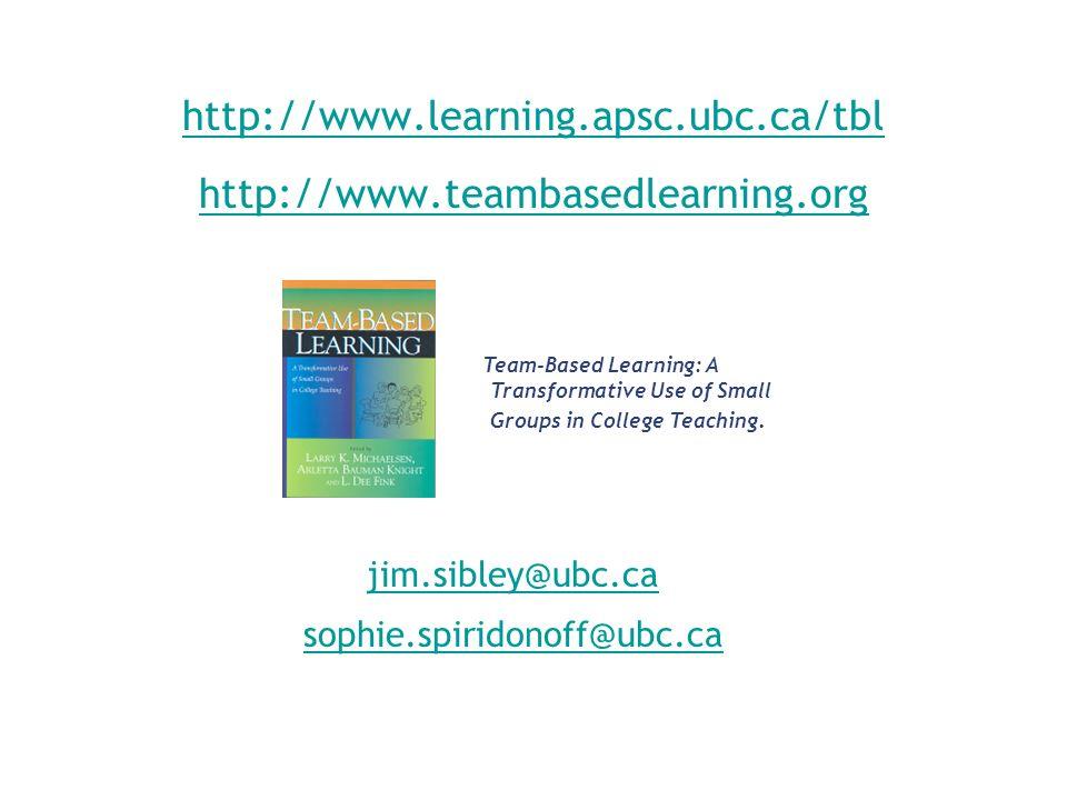 http://www.learning.apsc.ubc.ca/tbl http://www.teambasedlearning.org