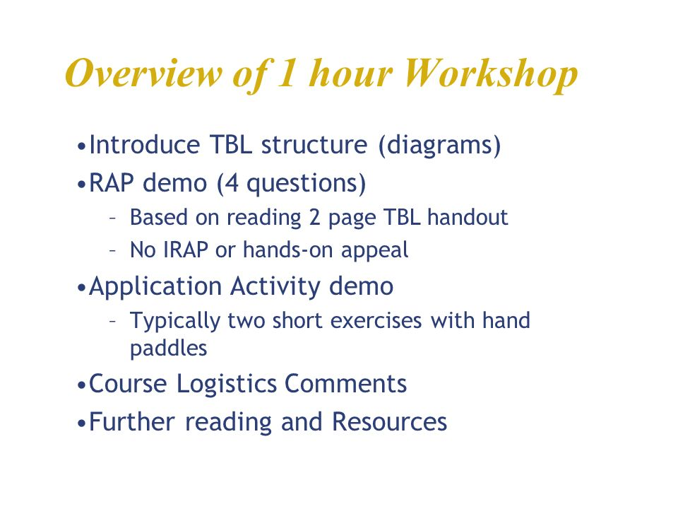 Overview of 1 hour Workshop