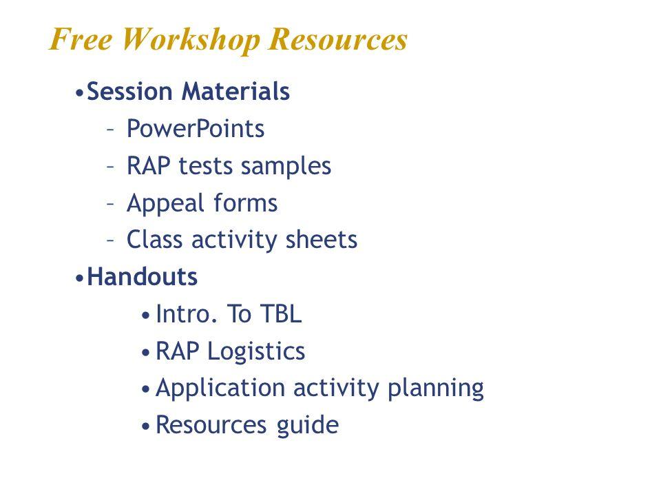 Free Workshop Resources