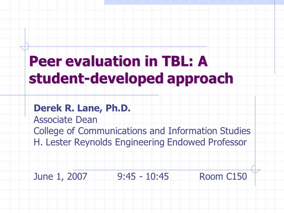 Peer evaluation in TBL: A student-developed approach