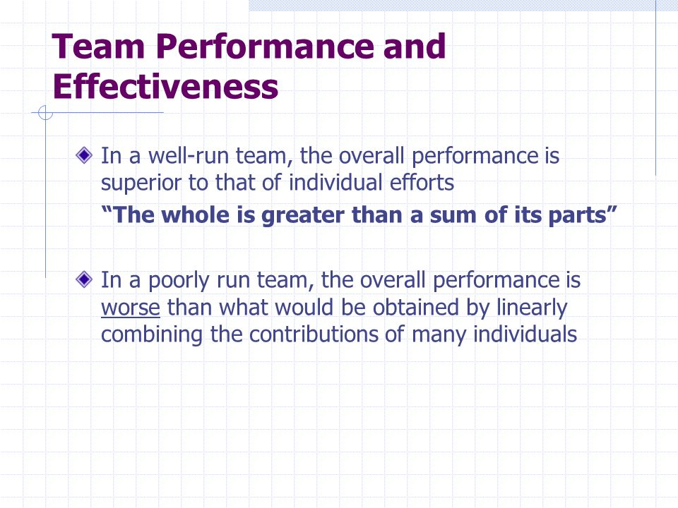 Team Performance and Effectiveness