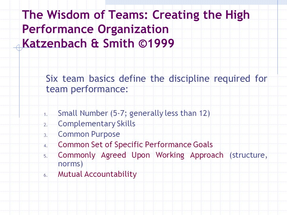 The Wisdom of Teams: Creating the High Performance Organization Katzenbach & Smith ©1999