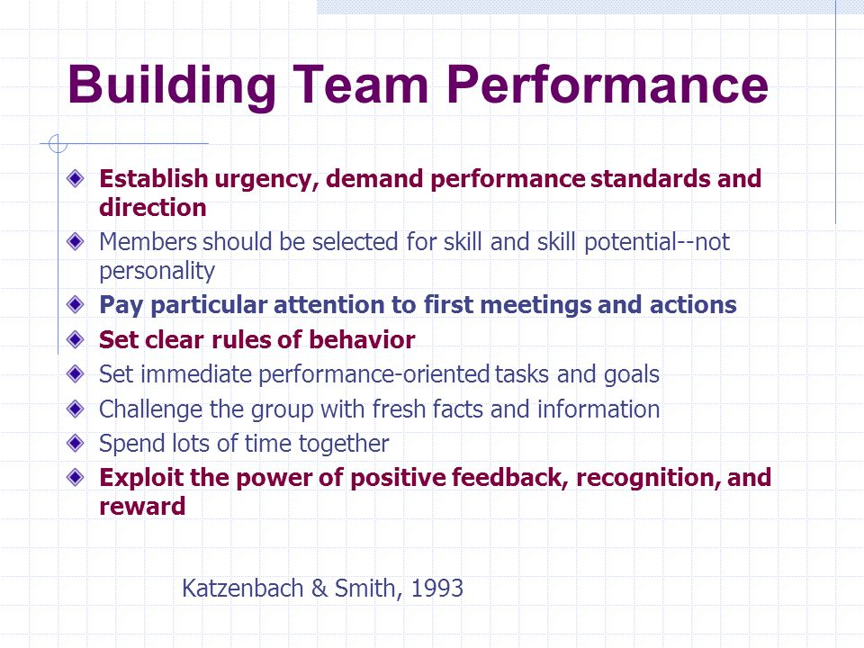 Building Team Performance