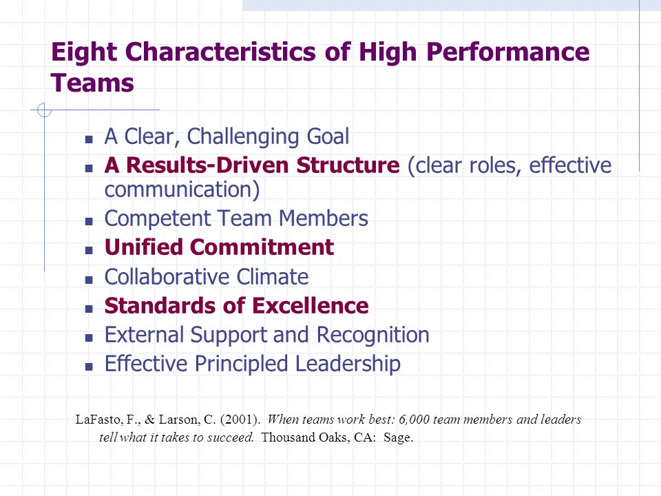Eight Characteristics of High Performance Teams