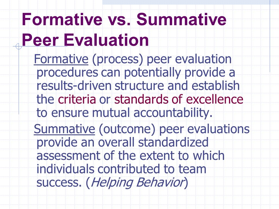 Formative vs. Summative Peer Evaluation