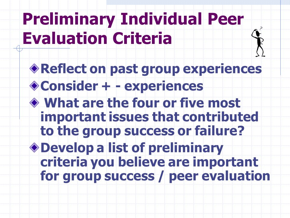 Preliminary Individual Peer Evaluation Criteria