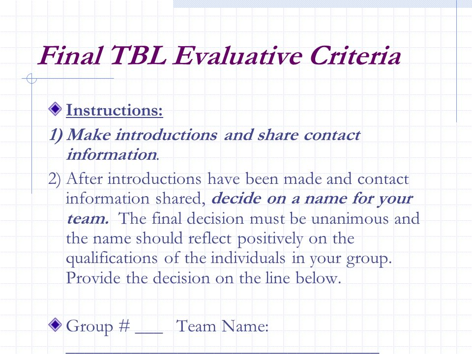Final TBL Evaluative Criteria