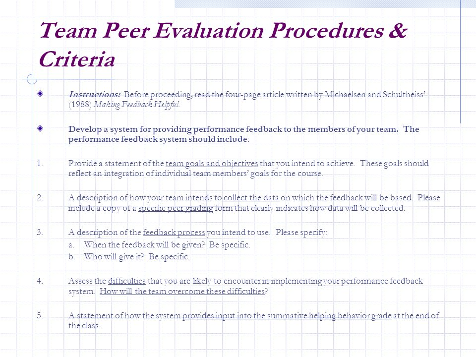 Team Peer Evaluation Procedures & Criteria
