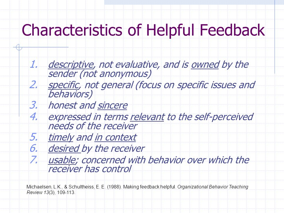 Characteristics of Helpful Feedback