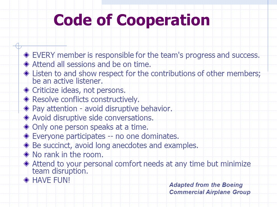 Code of Cooperation EVERY member is responsible for the team s progress and success. Attend all sessions and be on time.