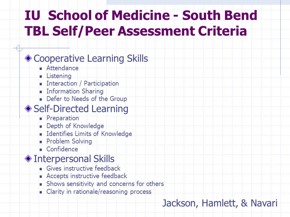IU School of Medicine - South Bend TBL Self/Peer Assessment Criteria