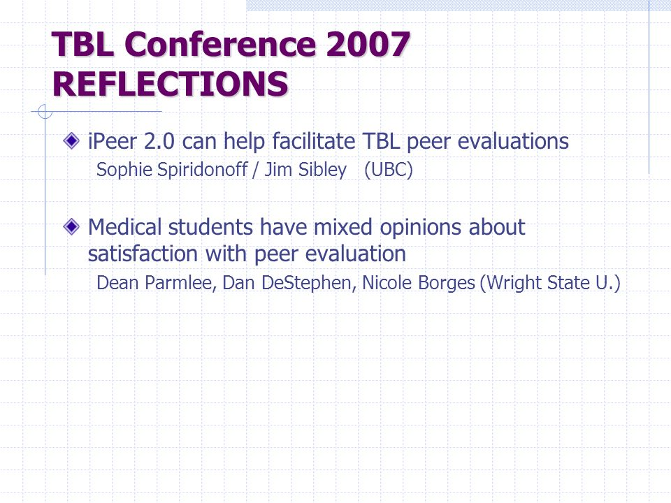 TBL Conference 2007 REFLECTIONS
