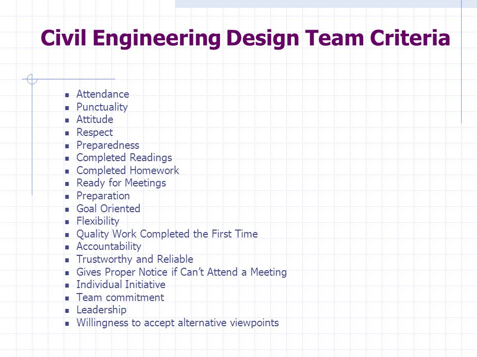 Civil Engineering Design Team Criteria