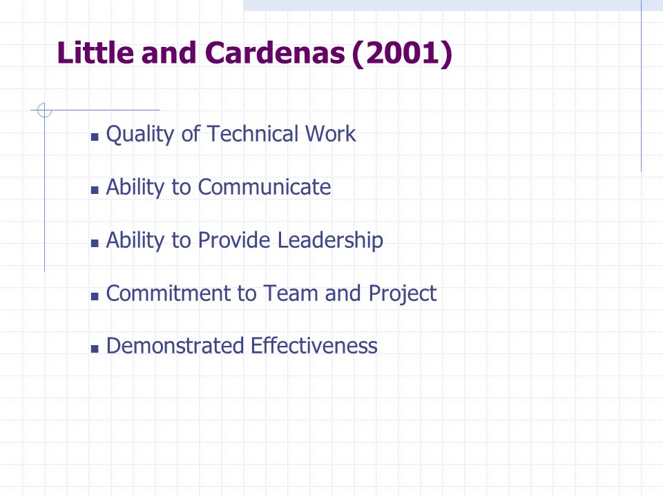 Little and Cardenas (2001) Quality of Technical Work