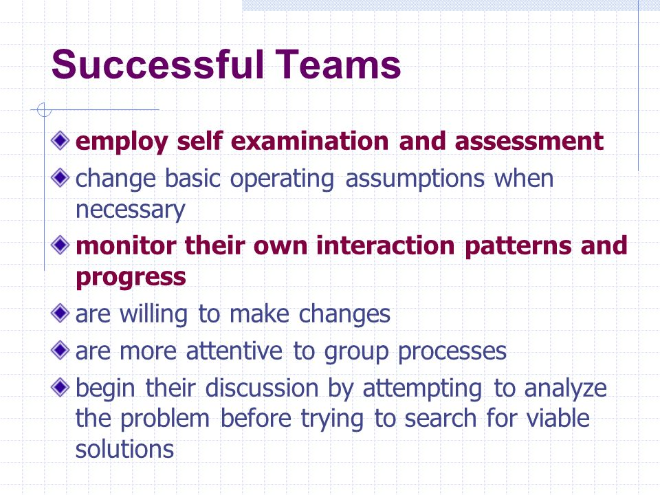 Successful Teams employ self examination and assessment
