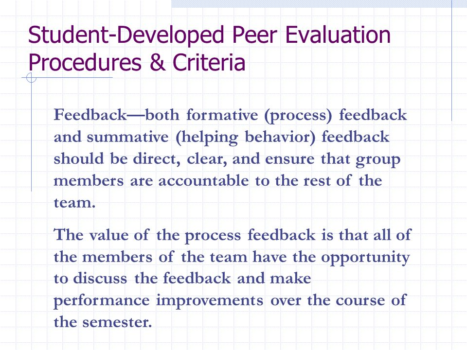 Student-Developed Peer Evaluation Procedures & Criteria