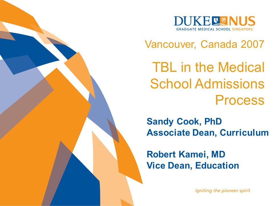 TBL in the Medical School Admissions Process