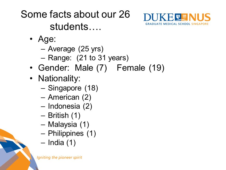 Some facts about our 26 students….