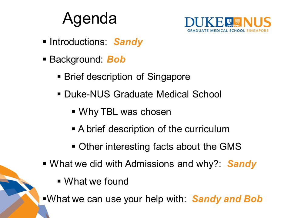 Agenda Introductions: Sandy Background: Bob
