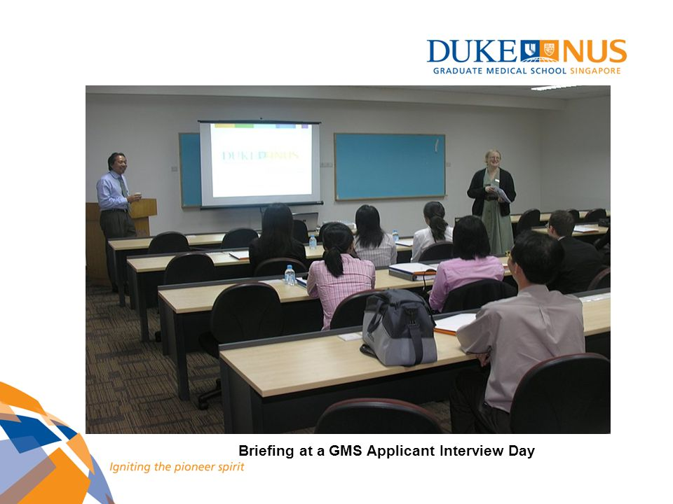 Briefing at a GMS Applicant Interview Day
