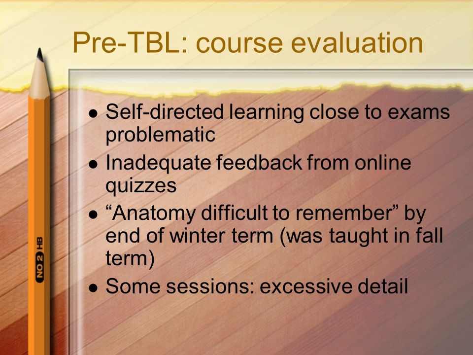 Pre-TBL: course evaluation