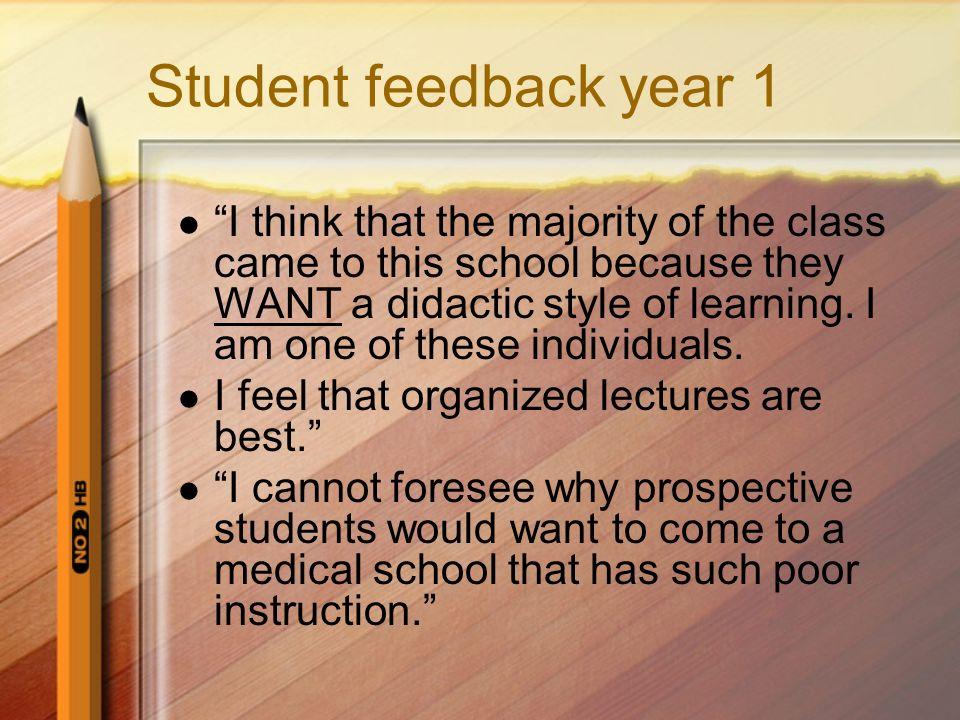 Student feedback year 1