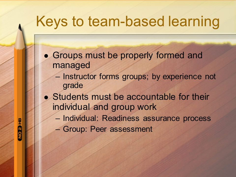 Keys to team-based learning