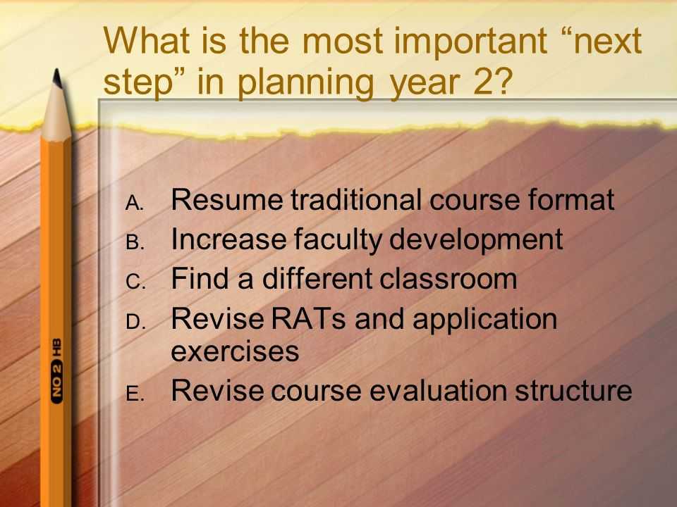 What is the most important next step in planning year 2